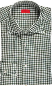 Isaia Napoli Dress Shirt Cotton 43 17 Green White Check