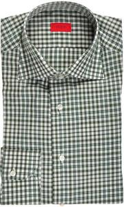 Isaia Napoli Dress Shirt Cotton 39 15 1/2 Green White Check