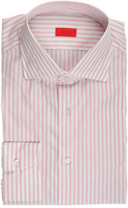 Isaia Napoli Dress Shirt Cotton 41 16 Pink White Stripe