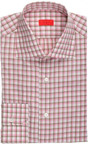 Isaia Napoli Dress Shirt Cotton 40 15 3/4 Pink Brown Check