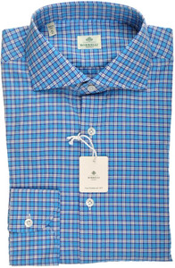 Luigi Borrelli Napoli Dress Shirt 41 16 Blue White Check