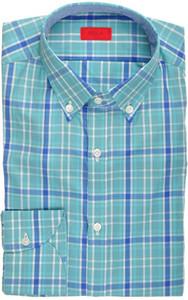Isaia Napoli Dress Shirt Cotton 39 15 1/2 Green Blue Plaid