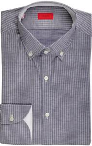Isaia Napoli Dress Shirt Cotton Jersey 39 15 1/2 Blue Stripe