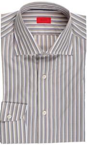 Isaia Napoli Dress Shirt Cotton 39 15 1/2 Blue Brown Stripe