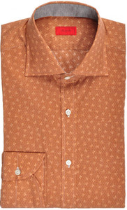 Isaia Napoli Dress Shirt Cotton 39 15 1/2 Brown Coral Geometric