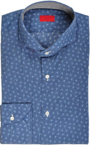 Isaia Napoli Dress Shirt Cotton 39 15 1/2 Blue Coral Geometric