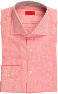 Isaia Napoli Dress Half Placket Shirt Linen 39 15 1/2 Pink