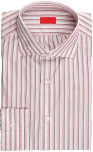 Isaia Napoli Dress Shirt Cotton 40 15 3/4 Pink Brown Stripe