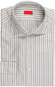 Isaia Napoli Dress Shirt Cotton 40 15 3/4 Green Brown Stripe