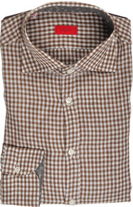 Isaia Napoli Dress Shirt Linen 39 15 1/2 Brown White Check