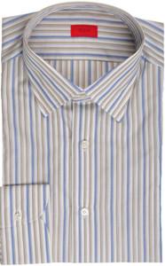 Isaia Napoli Dress Shirt Cotton 43 17 Brown Blue Stripe