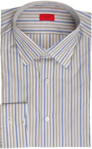 Isaia Napoli Dress Shirt Cotton 39 15 1/2 Brown Blue Stripe