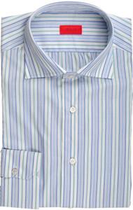 Isaia Napoli Dress Shirt Cotton 39 15 1/2 Blue Green Stripe