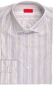 Isaia Napoli Dress Shirt Cotton 39 15 1/2 Blue Orange Stripe