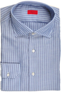 Isaia Napoli Dress Shirt Cotton 43 17 Blue Stripe
