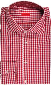 Isaia Napoli Dress Shirt Cotton 43 17 Burgundy Red Check