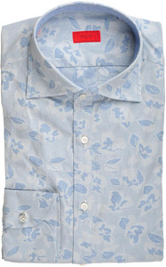 Isaia Napoli Half Placket Dress Shirt Cotton 39 15 1/2 Blue Floral