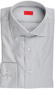 Isaia Napoli Dress Shirt Cotton 41 16 Gray Tonal Solid