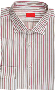 Isaia Napoli Dress Shirt Cotton 41 16 Green Red Stripe