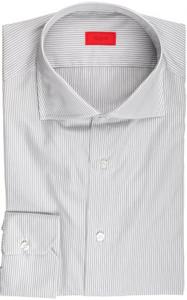 Isaia Napoli Dress Shirt Cotton 41 16 Gray Black Stripe