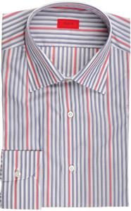 Isaia Napoli Dress Shirt Cotton 41 16 Blue Red Stripe