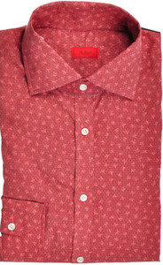 Isaia Napoli Dress Shirt Cotton 39 15 1/2 Red Coral Geometric