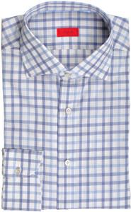 Isaia Napoli Dress Shirt Cotton 42 16 1/2 Blue White Check