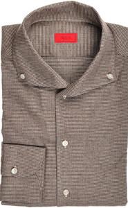 Isaia Napoli Dress Shirt Cotton Flannel 40 15 3/4 Brown Check