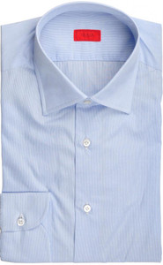 Isaia Napoli Dress Shirt Cotton 40 15 3/4 Blue Fancy Micro Stripe