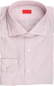 Isaia Napoli Dress Shirt Cotton 45 18 Purple Stripe