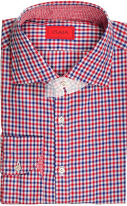 Isaia Napoli Dress Shirt Cotton 44 17 1/2 Blue Red Check