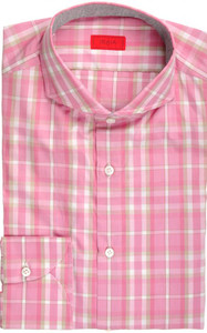 Isaia Napoli Dress Shirt Cotton 39 15 1/2 Pink Brown Plaid