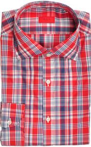 Isaia Napoli Dress Shirt Cotton 40 15 3/4 Red Blue Plaid