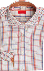 Isaia Napoli Dress Shirt Cotton 39 15 1/2 Blue Red Check