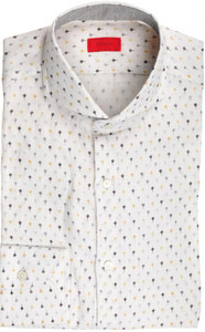 Isaia Napoli Dress Shirt Linen 39 15 1/2 White Gray Geometric