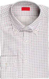 Isaia Napoli Dress Shirt Cotton Linen 39 15 1/2 Gray Red Geometric