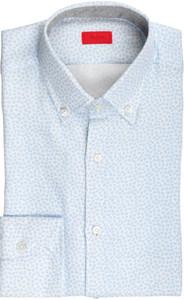 Isaia Napoli Dress Shirt Cotton 39 15 1/2 Blue Geometric