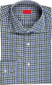 Isaia Napoli Dress Shirt Cotton 39 15 1/2 Green Blue Check