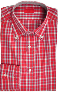 Isaia Napoli Dress Shirt Cotton 39 15 1/2 Red Gray Plaid