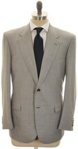 Brioni Suit 'Palatino' 2B Wool Silk 43 53 Gray Red Stripe
