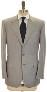 Brioni Suit 'Palatino' 3B Wool 39 49 Gray Sharkskin Pink Stripe
