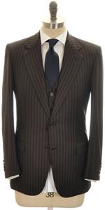 Brioni 3-Piece Suit 'Palatino' Wool 38 48 Brown Blue Stripe