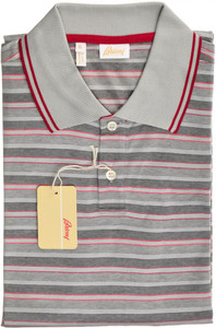 Brioni Polo Shirt Fine Knit Cotton Large Red Gray
