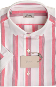 Brioni Shirt Polo Collar Fine Cotton Large IV Red Blue
