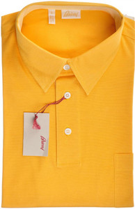 Brioni Polo Shirt Fine Cotton Large Yellow