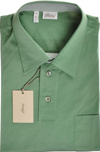 Brioni Polo Shirt Fine Cotton Large Green