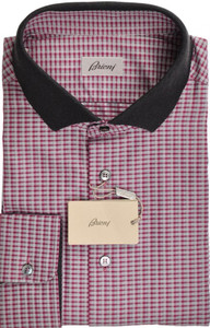 Brioni Shirt Long Sleeve Polo Collar Fine Cotton 3XLarge Purple