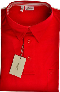 Brioni Polo Shirt Fine Cotton Large Red