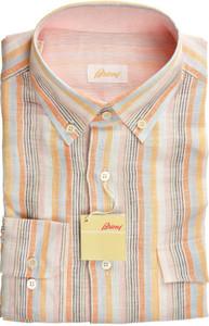 Brioni Dress Shirt Linen Large IV Orange Blue