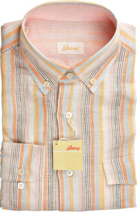 Brioni Dress Shirt Linen Medium III Orange Blue